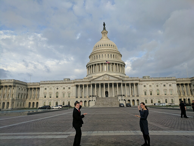 Pete and Rachel staning in front of the Capitol Building in Washington, DC.