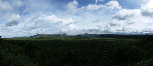 A view of Masaya Volcano, one of Nicaragua's many active volcanoes.