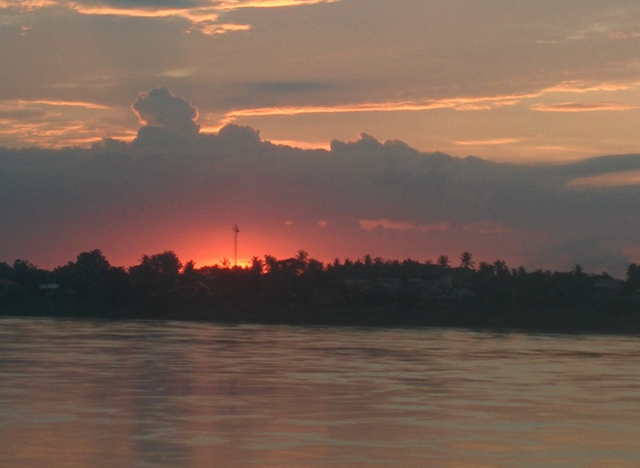 Sunset on the Mekong River, looking towards Laos. Nong Khai, Thailand, June 2015.