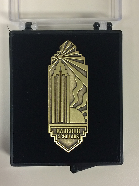 Image of the newly designed Barbour Scholars pin