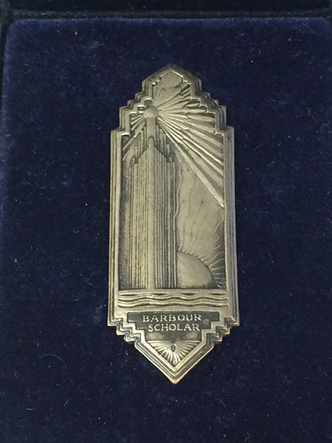 Image of the original Barbour Scholars pin