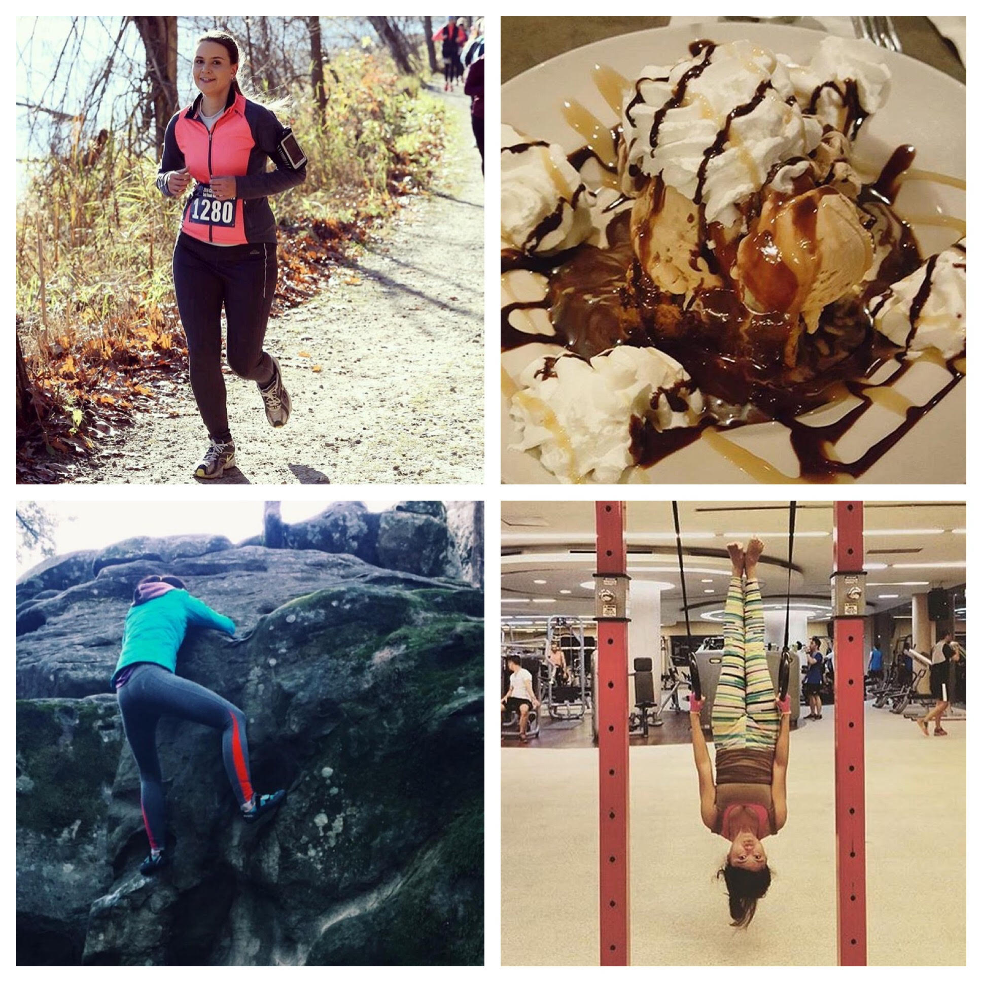 Clockwise from left: Jana Wilbricht on a trail run in Clarkston, Amy Pistone's yummy dessert in Ann Arbor, Daniela Morar rock climbing in California, Rika Nova going head over heels at the gym in Ann Arbor.