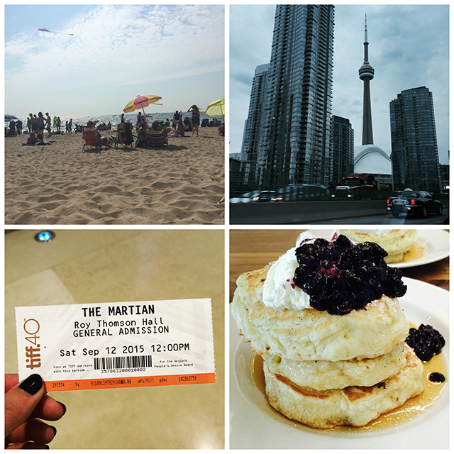 Top Left: Grand Haven City Beach; Top Right: Downtown Toronto; Bottom Left: a movie ticket to <em>The Martian;</em> Bottom Right: Mildred's Temple Kitchen's Mrs. Biederhof's Blueberry Buttermilk Pancakes