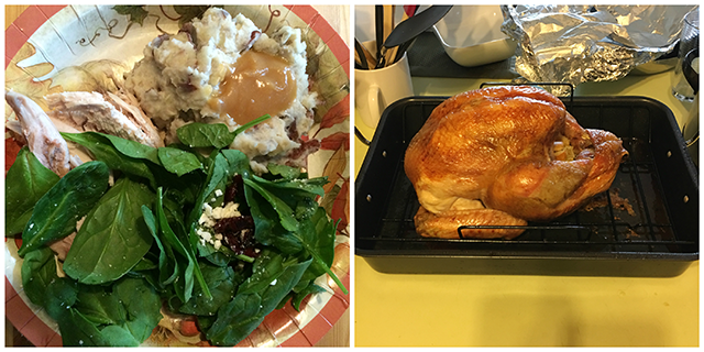 Left: a paper plate with turkey, mashed potatoes and gravy, and salad; Right: a roasted turkey
