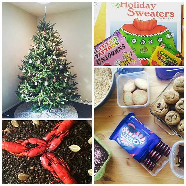 Top Left: a decorated Christmas tree; Top Right: holiday sweaters coloring book with crayons for white elephant exchange; Bottom Left: squid ink paella with whole cooked lobsters on top; Bottom Right: holiday cookies and sweets
