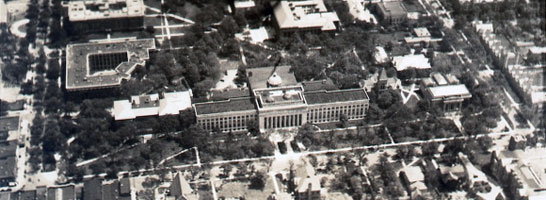 An aerial view of the University taken in 1929, looking down on State Street