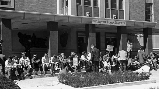 Demonstration in support of 150 black students, April 1968.