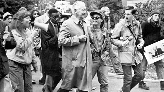 President Fleming and demonstrators, 1988