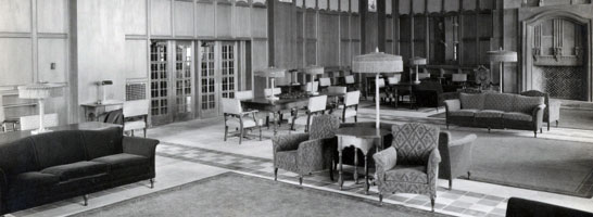 The Michigan Union Library was completed in 1925 following a gift from Mrs. Edward W. Pendleton of Detroit in memory of her husband. His library was also donated.