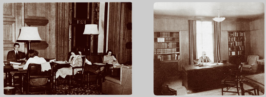 Rackham Study Lounge, ca. 1939, and Deans Office