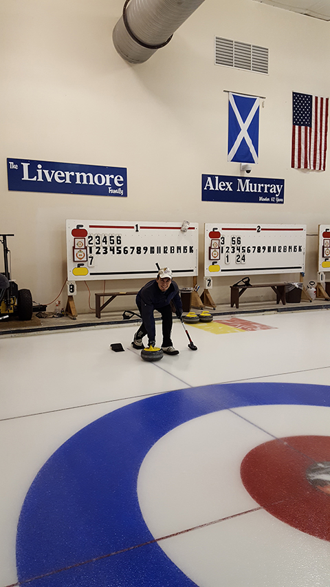 Jeff curling at the Detroit Curling Club
