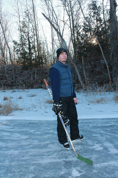 Jeff playing ice hockey outdoors
