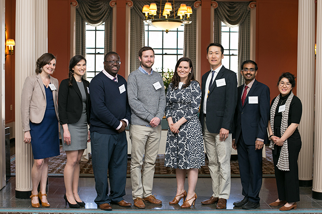 Awardees, from left, are Emily Waples, Elizabeth Mann, Austin McCoy, Nielson Baxter, Sara Rimer, Yoonseob Kim, Naveen Narisetty and Cassie Miura. Not pictured: Azadeh Ansari, Emily Maclary.
