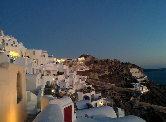 Evening scene in Oia, Santorini.