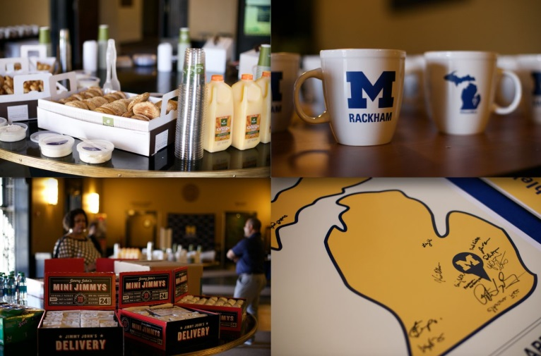 Image of food, mugs and signing map.