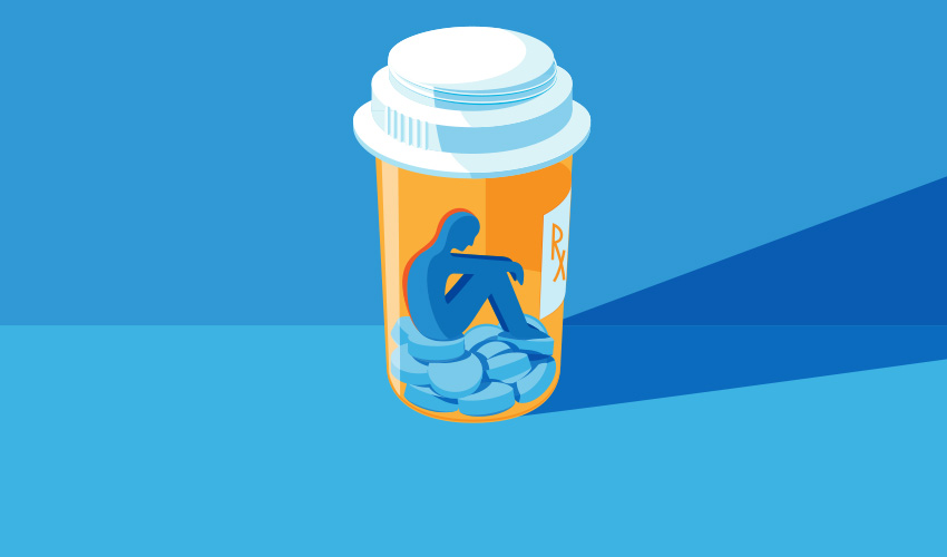 cartoon prescription pill bottle containing pills and a person