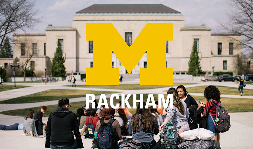 Rackham building, Rackham logo, and students