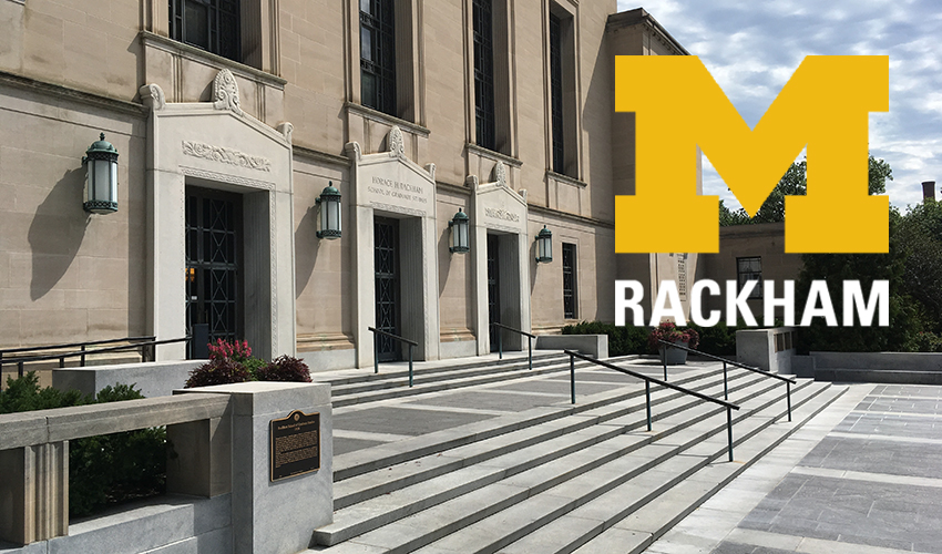 front steps of Rackham building with Rackham logo
