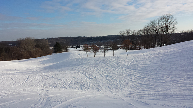 Ski and sled tracks at Huron Hills Golf Course